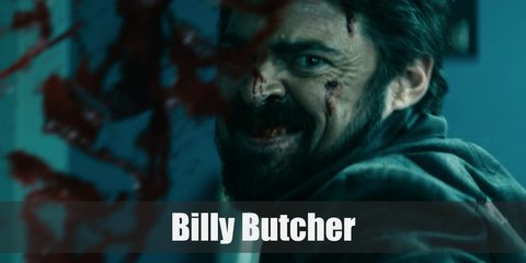 Billy Butcher costume is a black floral button-down shirt, black pants, and a black coat. All that black can't hide the fact that he can take you down.