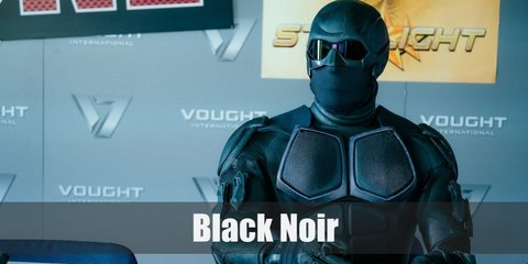 Black Noir costume is a black long-sleeved shirt, black pants with armor all around, and a full-head helmet and black goggles