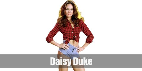 Daisy Duke costume is a red plaid shirt tied at the stomach She pairs it with denim shorts.