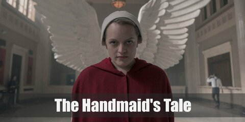 The costume from Handmaid's Tale features a red cloak and a white bonnet hat. You can also wear a pair of black boots.