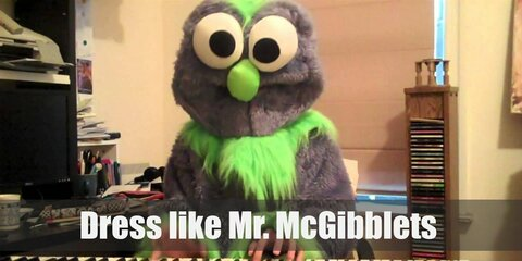 Mr. McGibblets has mostly purple fur with a few neon green parts. He has two large eyes as well.