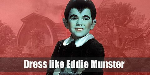 Eddie Munster often wears an old-fashioned toddler clothes: a dark blouse with peter pan collars and long sleeves, dark shorts, mid-length socks, and a pair of oxford shoes.
