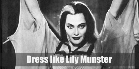 Lily Munster long hair is as iconic as Cruella De Vil's for its black and white colors. For her style, Lily often wears a diaphanous white dress with the bat necklace she calls a bad luck charm.