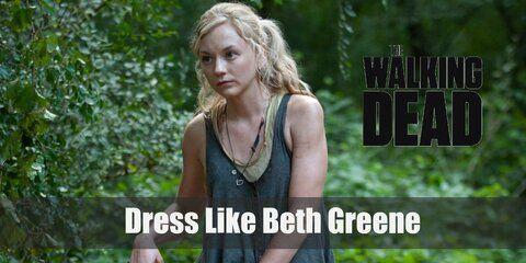 Beth Greene wears clothes that show her youth and are still comfortable enough for killing walkers. She has on 2 layers of tops, comfy denim jeans, and protective boots