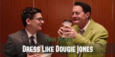 Dougie Jones' bright clothes seem to be oversize and baggy which adds even more comic sense to the character.