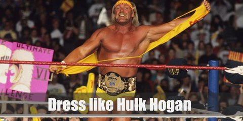 Hulk Hogan's iconic costume is wearing a yellow muscle tee, wrestling briefs, and boots. He also wears red knee protector and yellow bandana on the head.