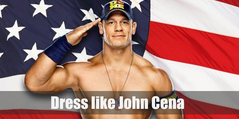 John Cena costume is shirtless with denim shorts, sneakers, and wrist bands.