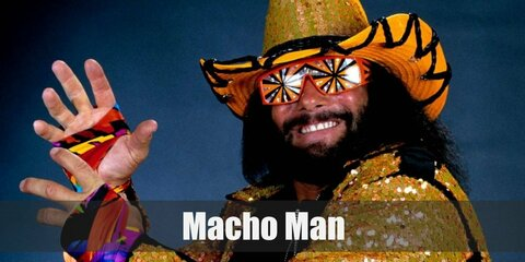 Macho Man Randy Savage costume is a tight red and yellow long sleeved top with pants. There is also hanging ribbons on his arms. Complete the costume with a red hat, fake beard , wig, and sun glasses.