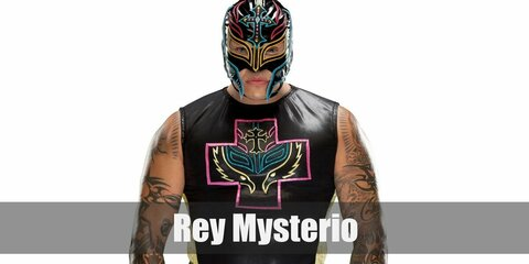 Rey Mysterio's costume is a signature full head mask along with a tank top and performance pants.