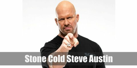 Stone Cold Steve Austin's costume is a black, open vest with silver details, denim shorts, and black boots.